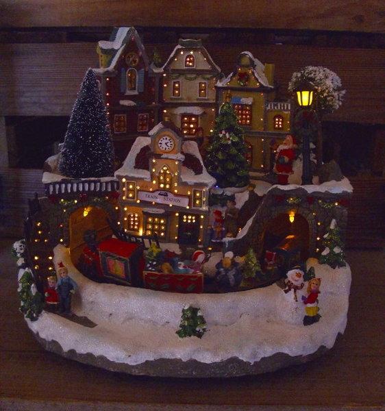 Weihnachtsdeko Beleuchtet.Winter Weihnachtsdeko Bahnhof Weihnachtsdorf