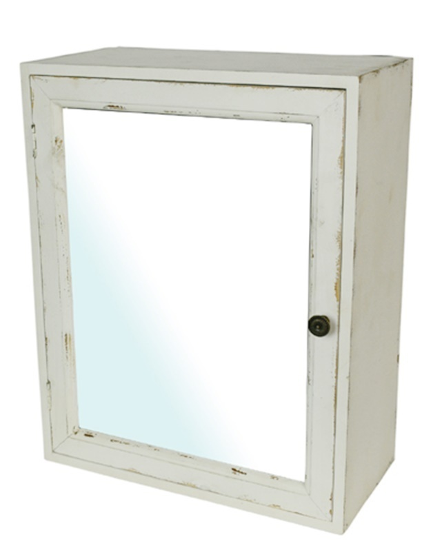 Bad Spiegel Regal Spiegelschrank Holz 50cm H Antik