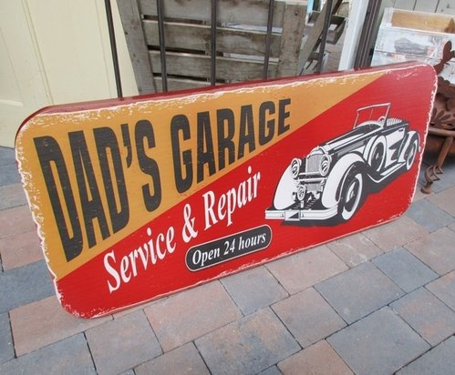 Grosses Bar Bistro Schild DAD´s GARAGE