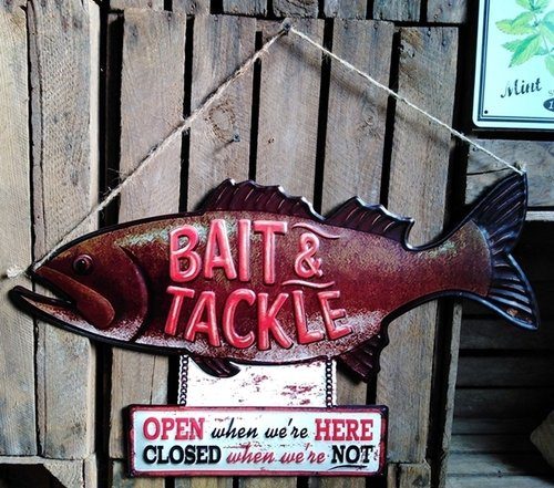 Grosses Angler Blechschild FISH and BAIT